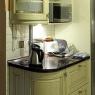 Kuchnia drewno - Jesion patyna, szyba witrażowa - nikiel patynowany